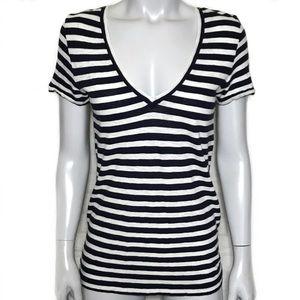 {j. crew} white & black striped t-shirt